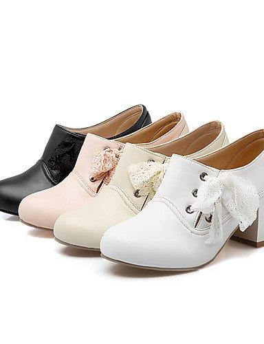 XZZ/ Damen-Stiefel-Kleid-Kunstleder-Blockabsatz-Stifelette / Modische Stiefel-Schwarz / Rosa / Weiß / Beige pink-us8.5 / eu39 / uk6.5 / cn40