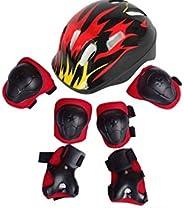 1Set(Black+Red) Kids Children 7 in 1 Sports Skateboard Protection Sets Cycling Roller Skating Helmet/Elbow Pad