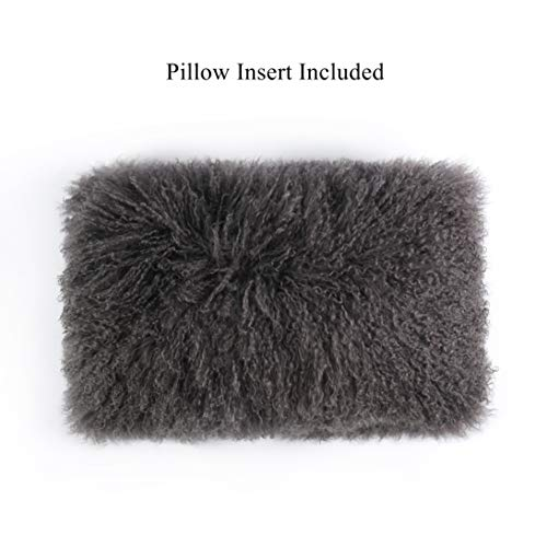 Smart Origin 100 Real Mongolian Lamb Fur Curly Wool Throw Pillow Cushion Decorative Pillow for Living Room Bedroom Car,Pillow Insert Included,12x20in,Dark Gray