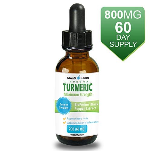 Turmeric Liquid - Highest Potency 800mg - Liposomal Tumeric Drops with BioPerine Black Pepper Extract - Antioxidant, Pain Relief, Joint Support - Turmeric Root Curcumin - Non-GMO 2oz
