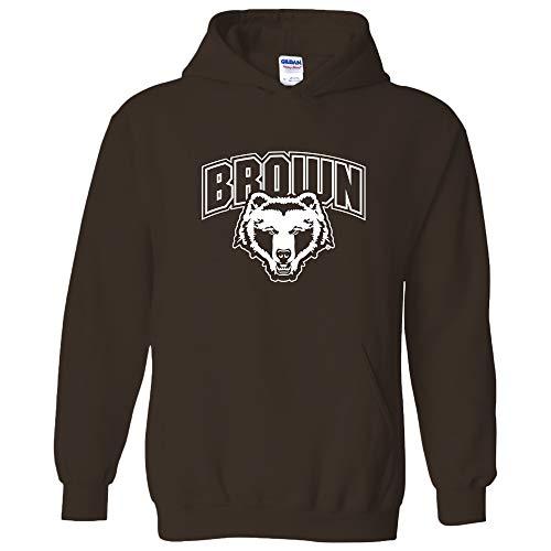 UGP Campus Apparel AH03 - Brown University Bears Arch Logo Hoodie - Small - Dk Chocolate