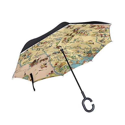 XiangHeFu Double Layer Inverted Reverse Umbrellas Texas State Map Cartoon Pattern Folding Windproof UV Protection Big Straight for Car with C-Shaped Handle (Map Texas Cartoon)