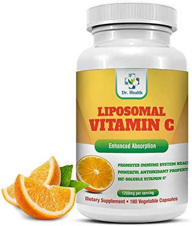 Liposomal Vitamin C 1200mg per Serving 180 Veggie Capsules per Bottle High Absorption Vitamin C Pill Supplements Fat Soluble VIT C Powerful Antioxidant with Immune System Support Made in USA