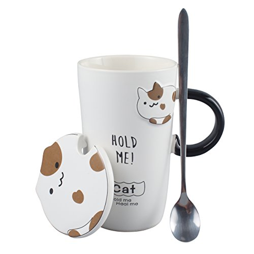 - Neolith Ceramic Cute Black & White Creative Coffee Cat Mug with Stainless Spoon and Lid 13 oz Perfect Gift for Friend Lovers and Cat lover