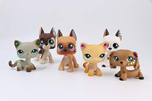 Toy Rare 6PC LPS Shorthair Cat 391 339 LPS Dachshund LPS Great Dane 244 577 817 Puppy Dog Set with Accessories Collection Rare Toy Figure Playsets Girls Boys Children Gift