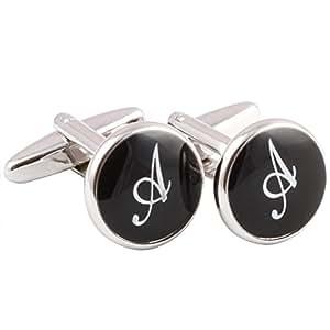 HJ Men's 2PCS Rhodium Plated Cufflinks Silver Initial Letter Shirt Wedding Business 1 Pair Set Black A