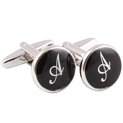 Plated Mens Cufflinks (HJ Men's 2PCS Rhodium Plated Cufflinks Silver Initial Letter Shirt Wedding Business 1 Pair Set Black A)
