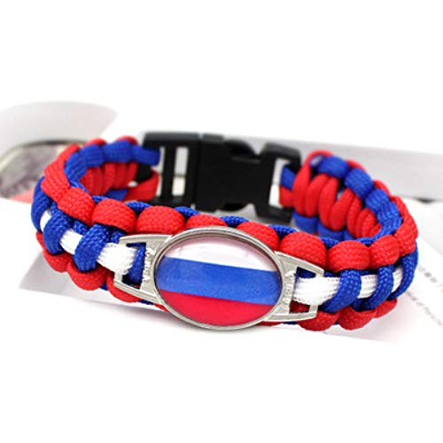 LLWWRR1 Russia World Cup Flag Umbrella Bracelet Survival Rope Lifeline Bracelet Bracelet