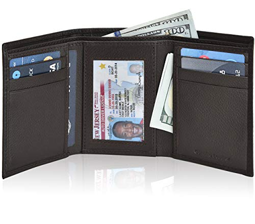 Mens Wallet Smooth Genuine Leather - Slim Durable Brown RFID Blocking Trifold Wallet with ID Window, Billfold and Card Slots, Packed in Elegant Gift Box