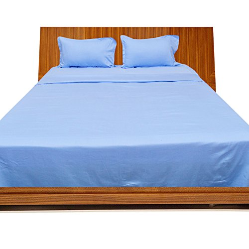 OnlineSmartDeals 100% Egyptian Cotton 4PCs Sheet Set Light Blue Solid , Short Queen (Made specifically for Campers, RVs, Travel Trailers & Motorhome mattresses) (Collection Percale Pima)