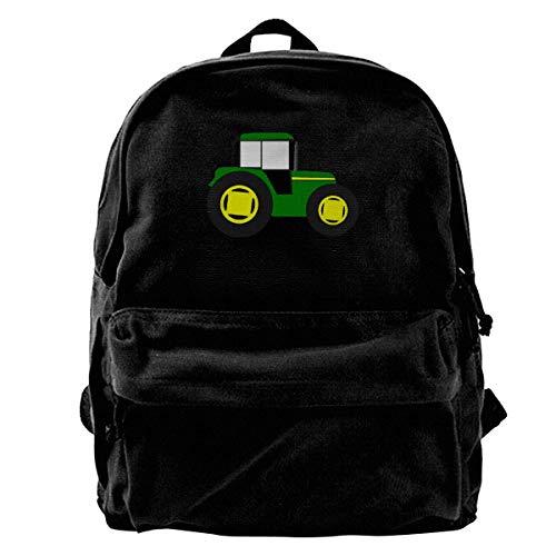 Green Traktor Canvas Backpack for Men Women Lightweight Travel Backpack Cute Shoulder Bags Laptop Backpack (Best Laptop For Traktor)