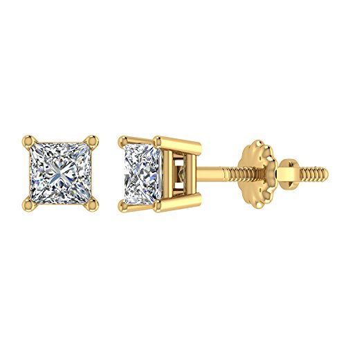 Diamond Earrings Princess Cut 14K Yellow Gold Studs 1/4 carat total weight Screw Back Posts