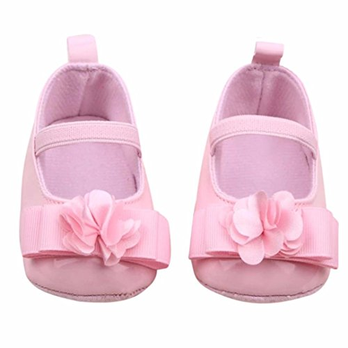 Voberry® Toddler Baby Girl's Princess Walking Mary Jane Crib Shoes Ballet Flats (0~6 Month, Pink)