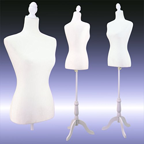 Female White Velour-like fabric Mannequin Dress Form (On White Tripod Stand)