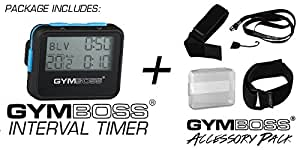 Gymboss Interval Timer and Stopwatch + Gymboss Accessory Pack Kit (Black w/ Blue Buttons)