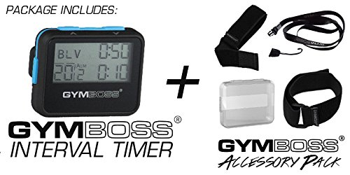 Gymboss Interval Timer and Stopwatch Accessory Pack Kit (Black w/Blue Buttons) (Best Run Walk Interval App)