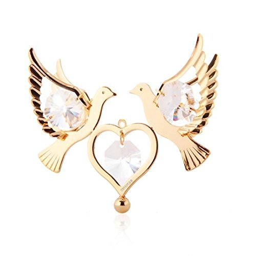Love Bird Ornament (24K Gold Plated Love Birds Ornament Made with Genuine Matashi Crystals)