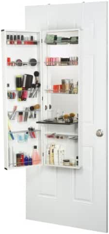 Mirrotek Beauty Armoire Makeup Organizer with Vanity Table, White Finish Frame