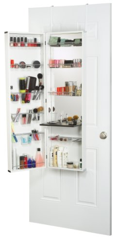 Mirrotek Beauty Armoire Makeup Organizer with Vanity Table, White Finish Frame (Armoire Vanity)
