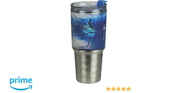 9aced985777 Amazon.com : River's Edge Guy Harvey ss Tumbler-Marlin Sports Water  Bottles, Blue, 32 oz : Sports & Outdoors