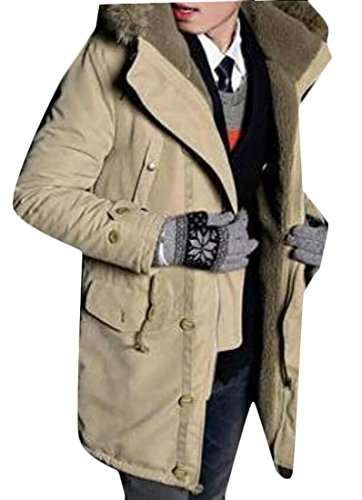 Warm Jackets Fur Winter Collar Down Generic Men's Khaki Puffer q1wE1xUn