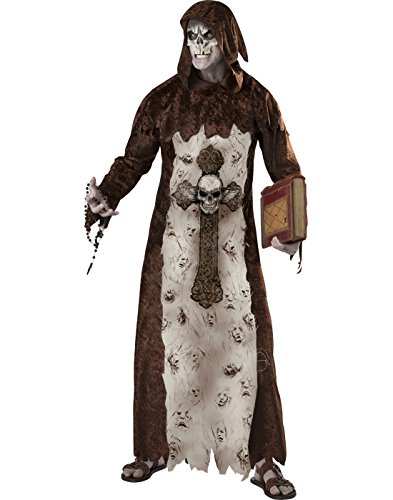 Keeper of Lost Souls Scary Adult Men's Halloween Costume Robe Mask Capelet MD-XL Brown -