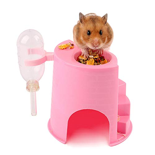 Gerbil Hut Hideout Holder Clear Water Bottle,Syrian Hamster Food Bowl Dispenser,Plastic Igloo with Climbing Activity Ladder 4-in-1 for Small Animals Mouse Rat,Pink
