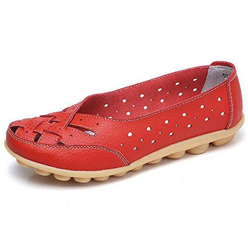 Aunimeifly Mom Comfortable Shoes Women Peas Boat Shoe Lady Criss-Cross Band Flats Hollow Out Soft Sandals Red ()