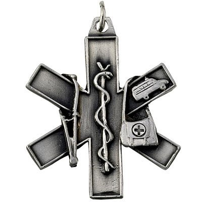 Emergency Medical Technician (EMT) Antique Pewter Finished with Split Keyring and Chain - Pack of 6