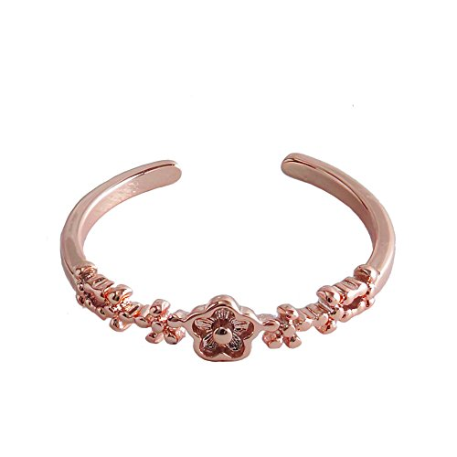 - SENFAI Cute Forget Me Not Flower Rings Summer Style Band Adjustable US Sizes 6 to 8 (Rose Gold)
