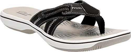 Clarks Brinkley Calm Women Open Toe Synthetic Tan Thong Sandal Black Synthetic