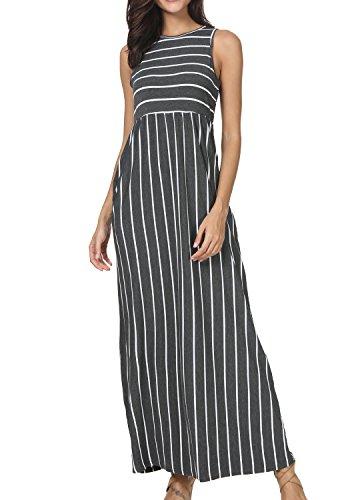 Pleated Empire Sweater - levaca Women Empire Waist Striped Pockets Pleated Tank Dress Dark Gray XL