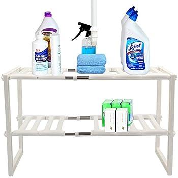 saving expendable under sink shelf adjustable cabinet storage 12x2028x15 inches size sturdy stainless steel u0026 pp materials kitchen bathroom organizer