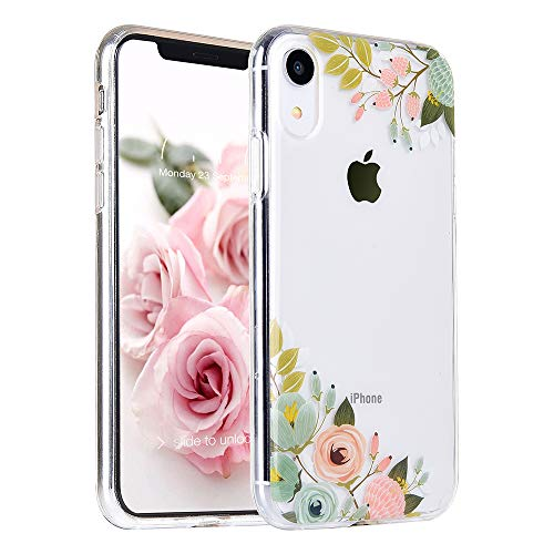 MURMAZ Floral Series for iPhone XR case [6.1 inch] (2018 Release), Flower Summer Tropical Cute Design for Girls Woman [Hard PC Back + Soft Bumper] Slim Shockproof Clear Protective Cover ()