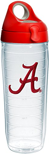 Alabama Bottle Insulated - Tervis 1232037 Alabama Crimson Tide Script A Insulated Tumbler with Emblem and Red with Gray Lid, 24oz Water Bottle, Clear