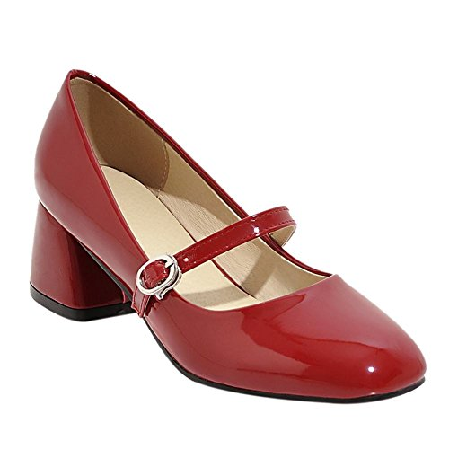 Mee Shoes Damen instep strap Schnalle chunky heels Mary Jane Halbschuhe Rot