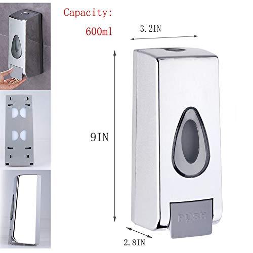 (RedDreamer Soap Dispenser, 600 ml Capacity Shower Soap Dispenser Wall Mounted Chrome Plated Manual Liquid Shampoo Dispenser for Hotel, Kitchen, Bathroom)