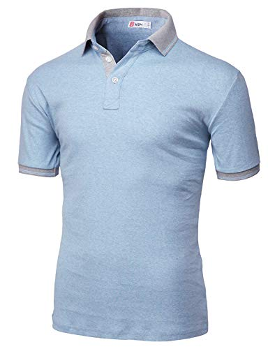 H2H Mens Casual Slim Fit Short Sleeve Polo Sky US L/Asia XL (KMTTS0560) (Casual Men Xl)