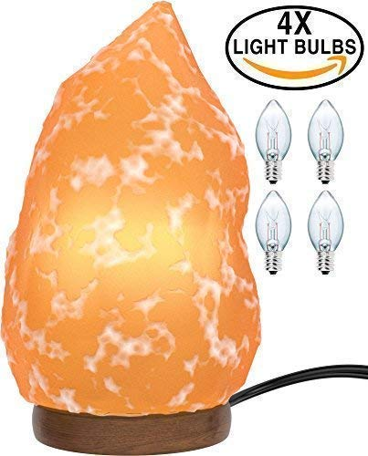 Himalayan Salt Lamp [3X Free Bulbs] Natural Shape Crystal Pink Salt Light with Solid Wooden Base | Air-Purifier Rock Salt Lamp 8 lbs to 11 lbs [Purifying The AIR, Reduce Asthma and Allergy by Zekpro