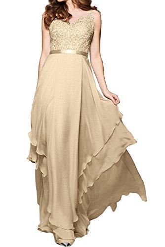 lang Herzform Champagner Ballkleid Ivydressing Applikation Knopf Partykleid Abendkleid gedeckt Spitze Chiffon Tuell Aermellos Damen Elegant Guertel tppEZwxg