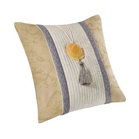 - Natori Lotus Temple Viscose Which is From Bamboo/Cotton Square Pillow, Gold/Pearl, 18 by 18-Inch