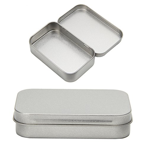 Hukai Metal Tin Silver Flip Small Storage Box Case Organizer For Money Coin Candy Keys