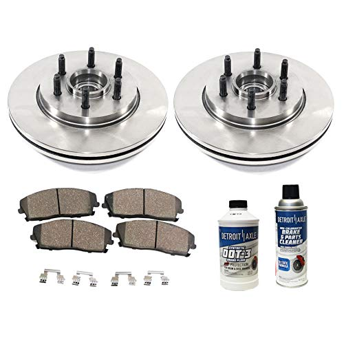 Detroit Axle - Pair (2) Front Disc Brake Rotors w/Ceramic Pads w/Hardware & Brake Cleaner & Fluid for 2004 2005 2006 2007 2008 Ford F-150 2WD 6 Lug - [06-08 Lincoln Mark LT] ()