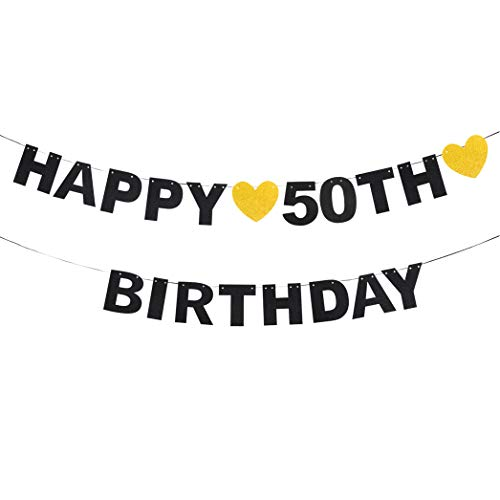 - waway Happy 50th Birthday Black Glitter Paper Letter Banner Pennant Sweet Gold Glitter Heart Cheers to Fifty Years Old Bday Fabulous Anniversary Party Event Funny Hanging Ornament Decoration Gift.
