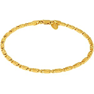 LIFETIME JEWELRY 4mm Diamond Cut Star Flat Link Chain Anklet 24k Real Gold Plated