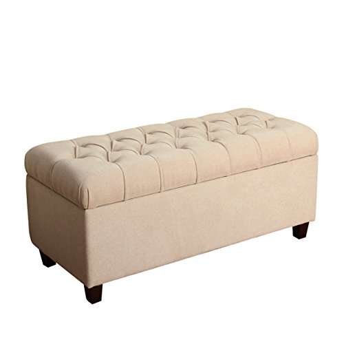 HomePop Ainsley Linen Button Tufted Storage Bench with Hinged Lid, Cream ()