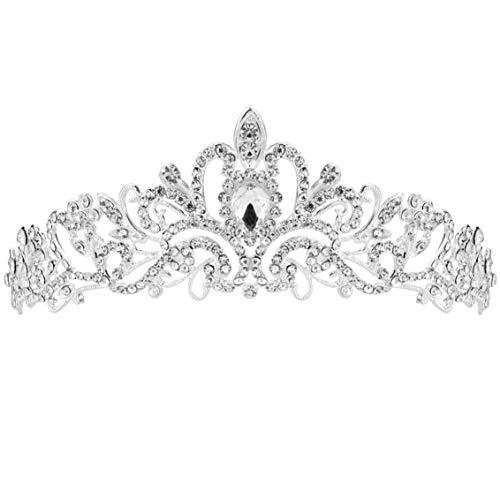 SUMERSHA Wedding Tiara Bridal Headband Rhinestones Pageant Princess Crown Decoration Silver Charming Hair Accessories -