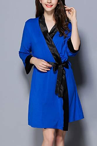 Casual Di Kimono Modale Da Le Camicie Pigiama Donne Notte Estate Vestaglia Royal Ringer AxXwqUE