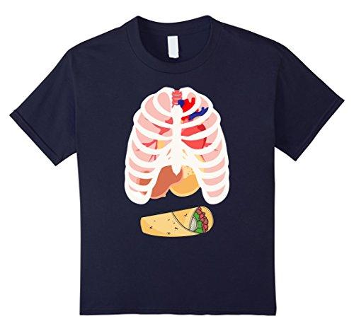 Kids SKELETON SHIRT - Halloween Costume Rib cage Anatomy T-Shirt 12 Navy - Toddler Burrito Costume