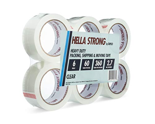 Hella Strong Clear Packing Tape Refills | Best Heavy Duty Tape for Shipping, Moving and Packaging Boxes |6 Rolls of 2 Inch Wide Superior Strength Industrial Tape for Dispensers